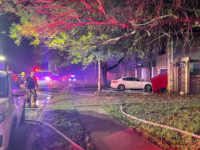 Two hurt in overnight fire