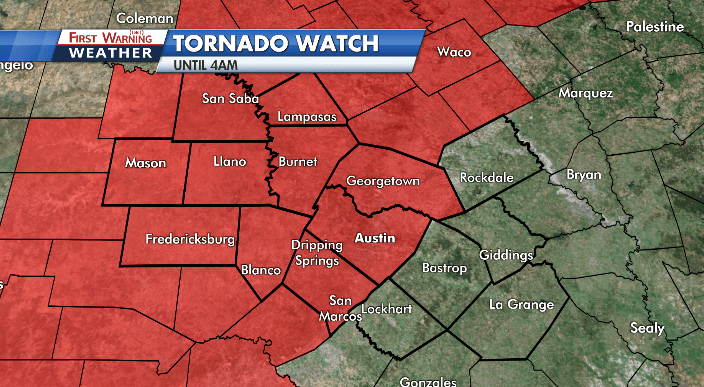 Tornado Watch issued for Hill Country and Austin metro counties until 4 a.m.