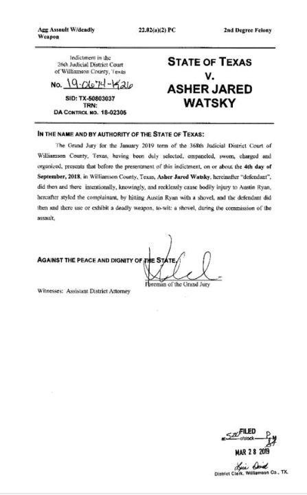 The Williamson County grand jury indicted Asher Watsky on March 28, 2019 on a charge of aggravated assault with a deadly weapon, a second-degree felony. The document on the right is the capias returned showing Watsky booked into the county jail on May 2, 2019 the day of the SWAT raid.