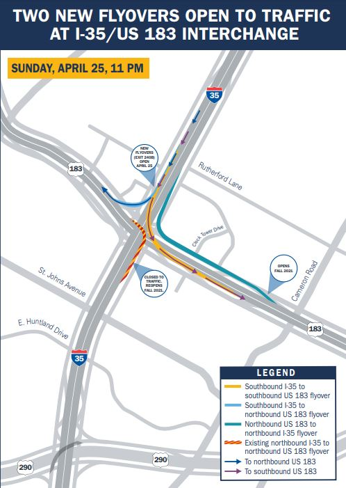 TxDOT is opening two new flyovers at the I-35/U.S. 183 interchange this Sunday, April 25 (TxDOT map)