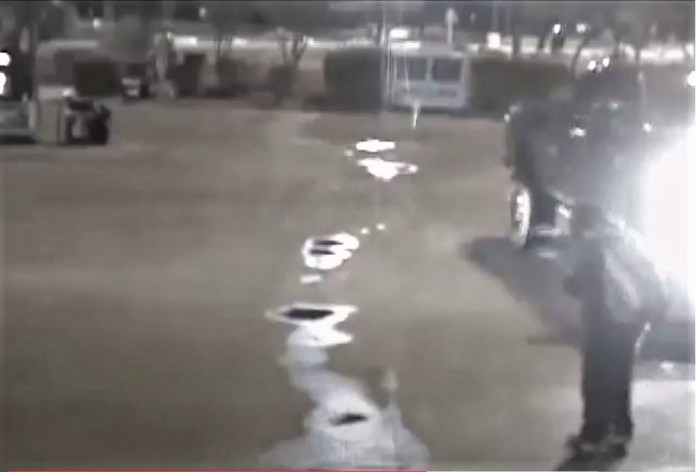 Surveillance video shows the seconds before Adam Marsh ran over Michele Gonzales in a south Austin gas station parking lot Feb. 9, 2018. (Austin Police Department Photo)