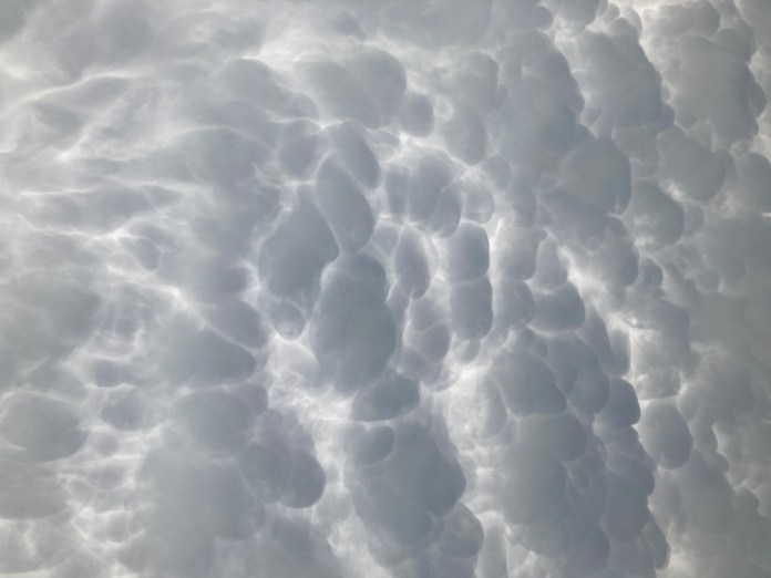 Mammatus clouds spotted over Johnson City, Texas on April 28, 2021 (Courtesy Paul Roten)