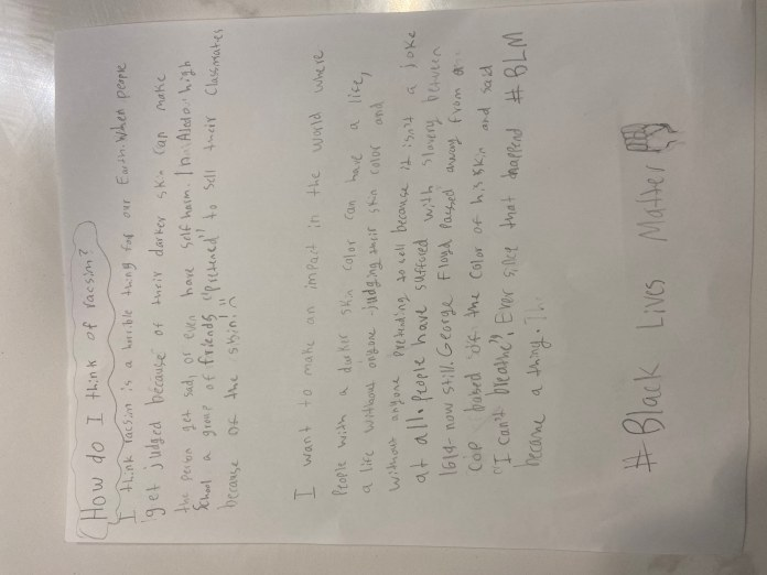 Letter from Martine Keith's daughter explaining how the Georgetown ISD assignment made her feel (Courtesy: Martine Keith)