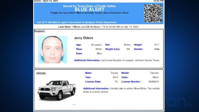 Blue Alert: Man accused of shooting Burleson police officer taken into custody