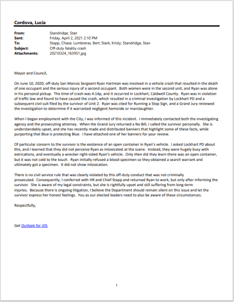 Police Chief Stand Standridge's letter about Ryan Hartman