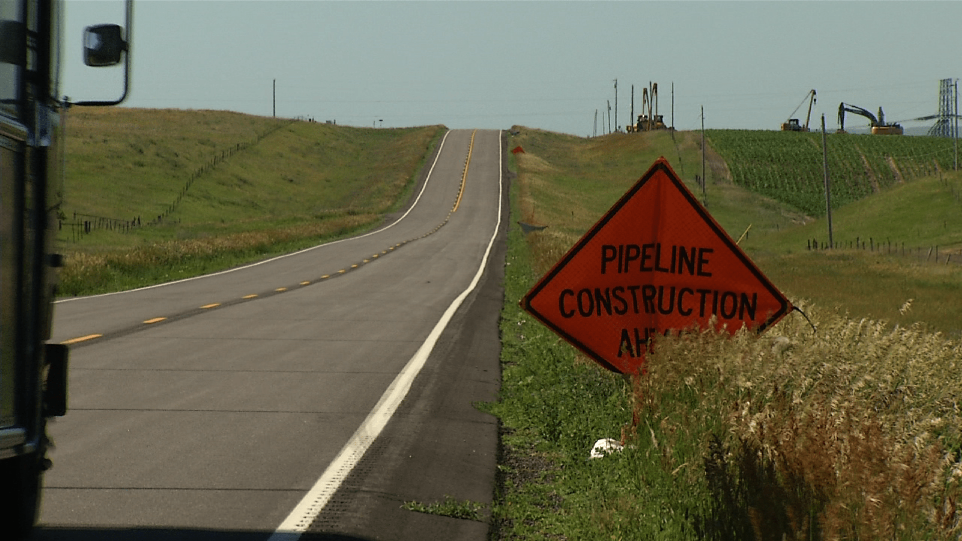 A construction sign in Southern North Dakota
