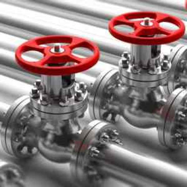 Industrial pipelines and valves close up on white background. 3d_1557155345478