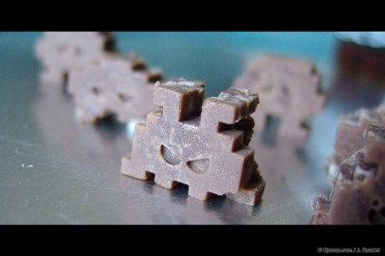 Chocolate made space invaders made for Easter in close up by Kyesos