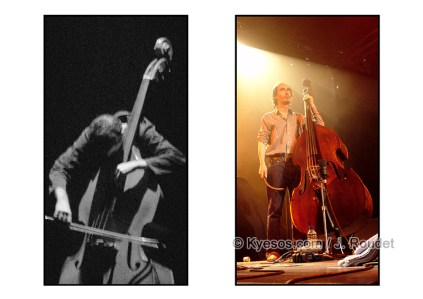 Two bass players in different shows