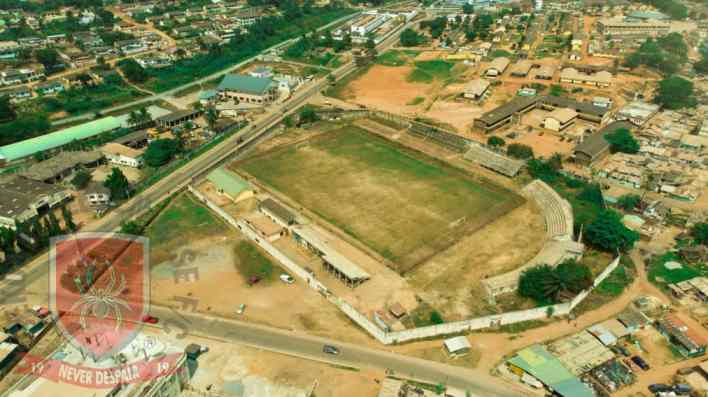 Drone shot of Gyandu Park, Sekondi - Image via Eleven Wise Media
