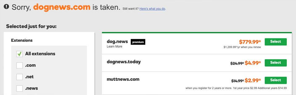 godaddy search domain