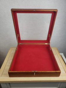Mahogany Shadow Box, full view, fully open