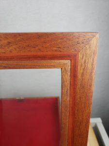 Mahogany Shadow Box, zoomed view of lid corner