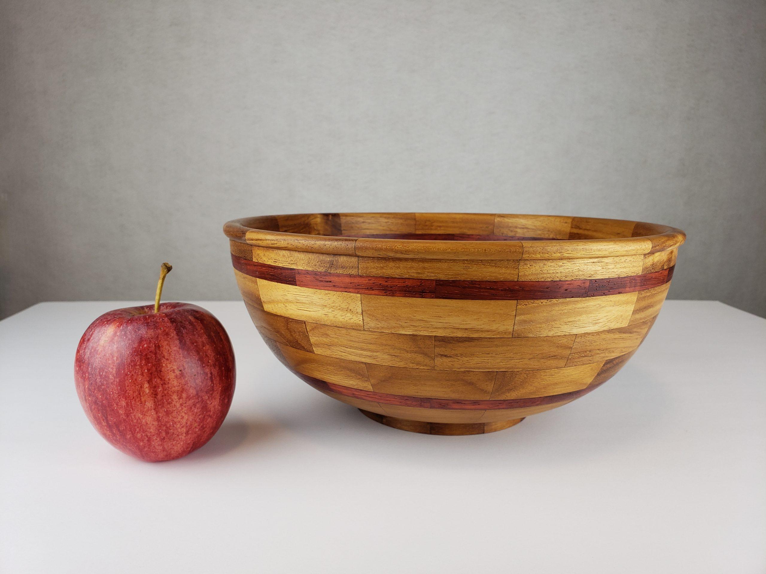 Segmented Teak Salad Bowl with Padauk Accent Rings