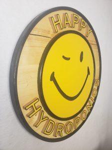 Happy Hydroponics Sign, full view, 45 degrees, left