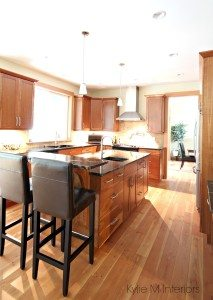 Kitchen With Natural Cherry Cabinets And Fir Flooring