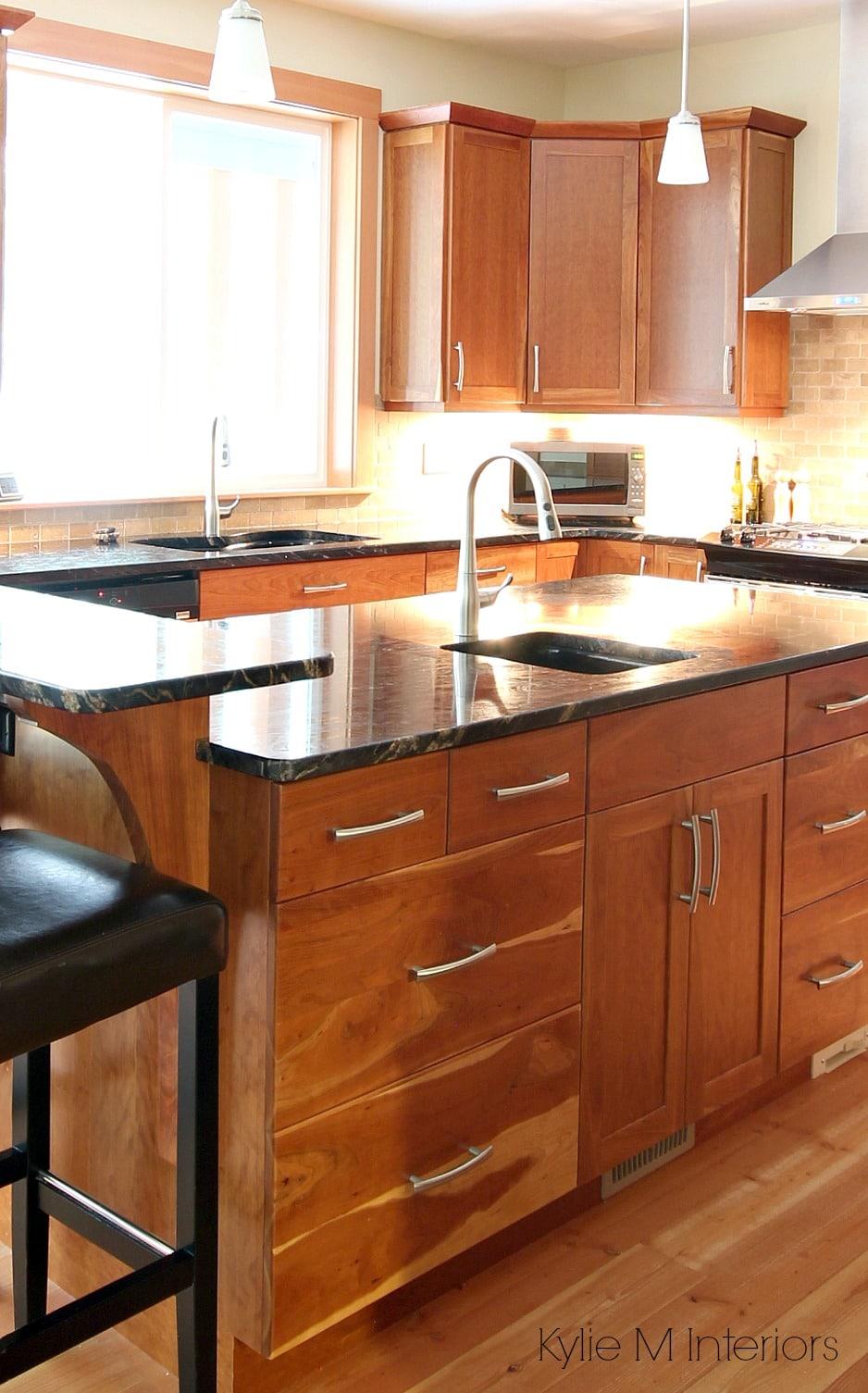 Natural Fir Flooring Cherry Cabinets Black Granite On