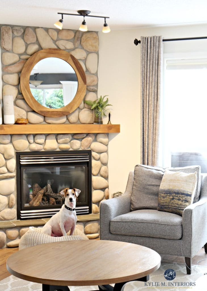 Living Room With Stone Fireplace Sherwin Williams Creamy
