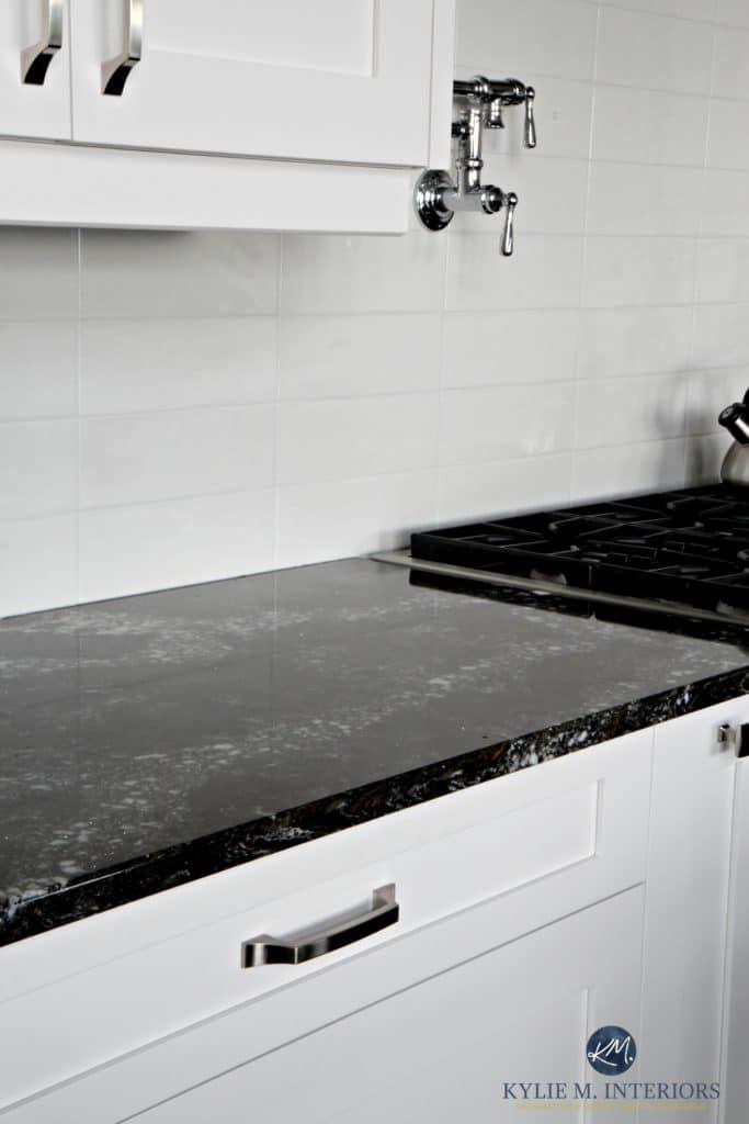 Cambria Ellesmere Black Quartz Countertop White Kitchen
