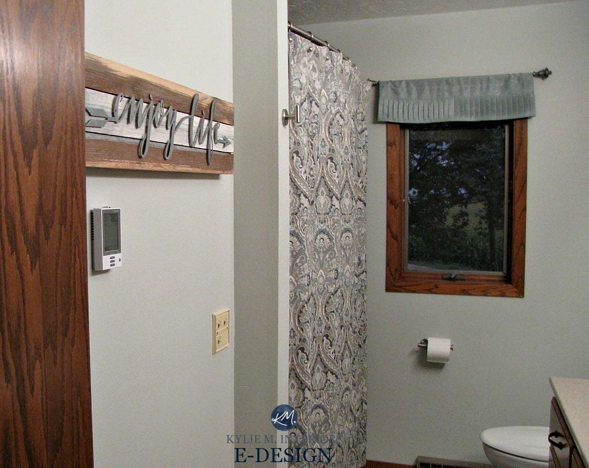 Benjamin Moore Night Mist In Bathroom Wtih Oak Trim