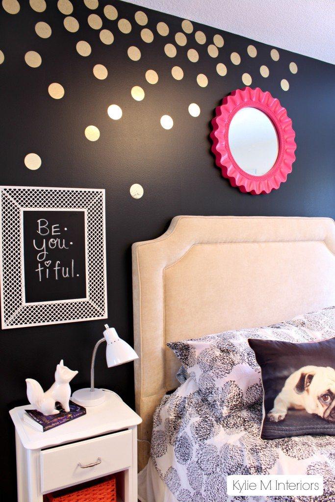 Gold Polka Dot Decals On Black Feature Wall In Tween Or Tween Bedroom Decorating Ideas