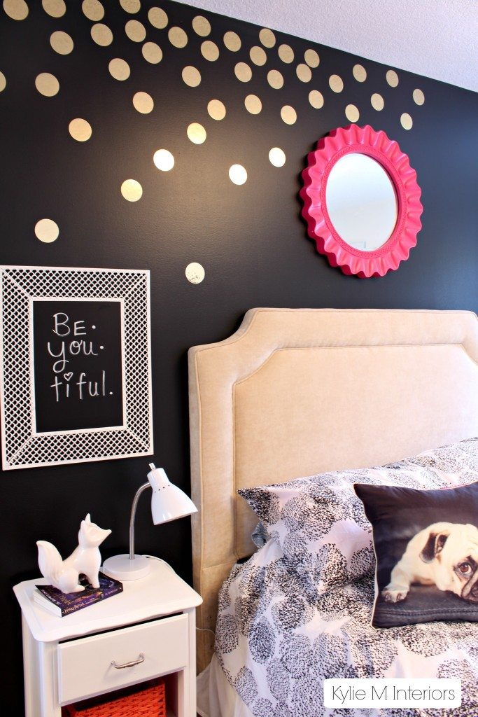 Gold Polka Dot Decals On Black Feature Wall In Tween Or