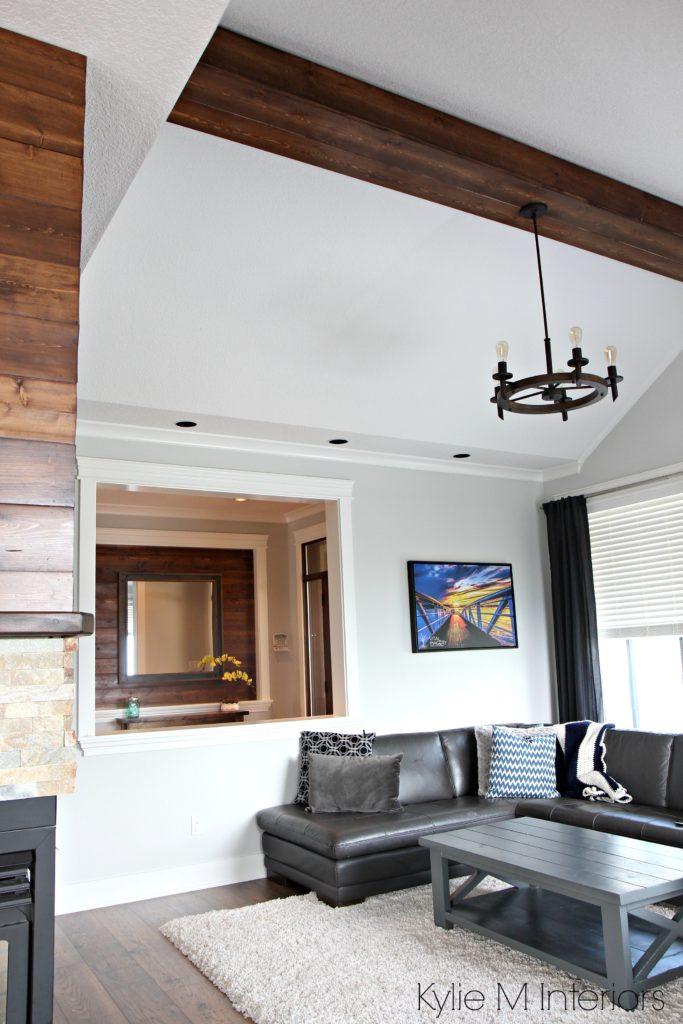 Living Room Design With Vaulted Ceiling Faux Wood Beam Chandelier Benjamin Moore Gray Owl