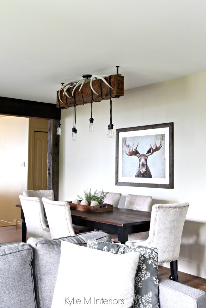 Rustic Country Or Hunting Decor In A Dining Room Benjamin Moore Grant Beige Design By Color