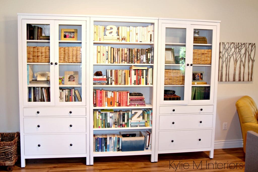 Ikea Hemnes Bookcase With Books In Family Room Decorating
