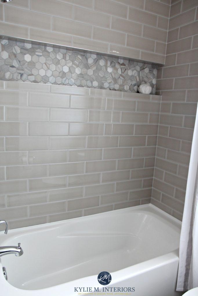 bathroom remodel greige subway tile