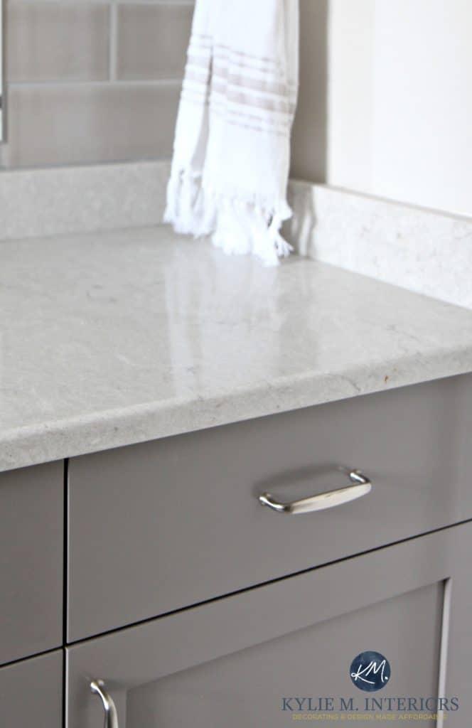 Caesarstone Bathroom Countertop Bianco Drift With Gray And