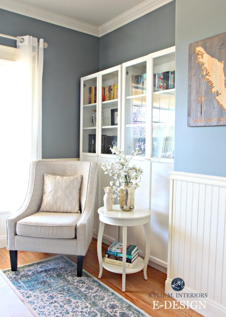 Can I Paint My North Facing Room Gray  Best blue gray paint colour  Benjamin Moore Sea Pine  Stonybrook  Ikea  bookshelves and