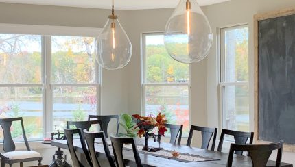 Benjamin Moore Revere Pewter In Dining Room With Dark Wood Furniture And Pendant Lights Best Warm Gray Kylie M Interiors Edesign Client Photo Decorating Blog