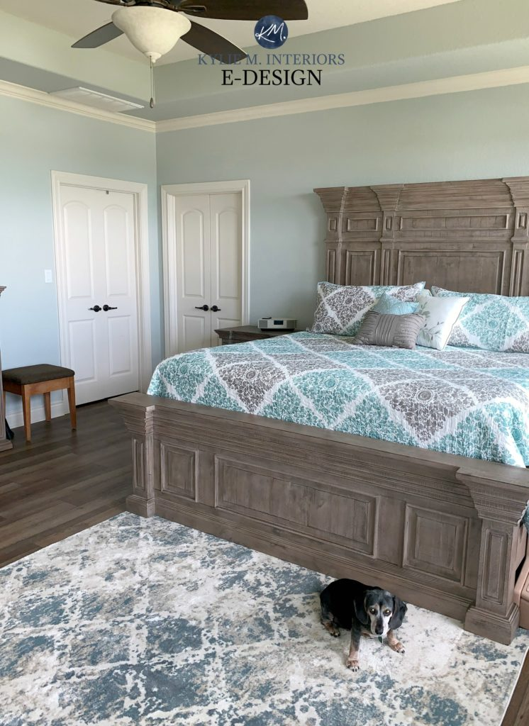 Sherwin Williams Silver Strand Master Bedroom With Wood Headboard And Footboard And Floor With