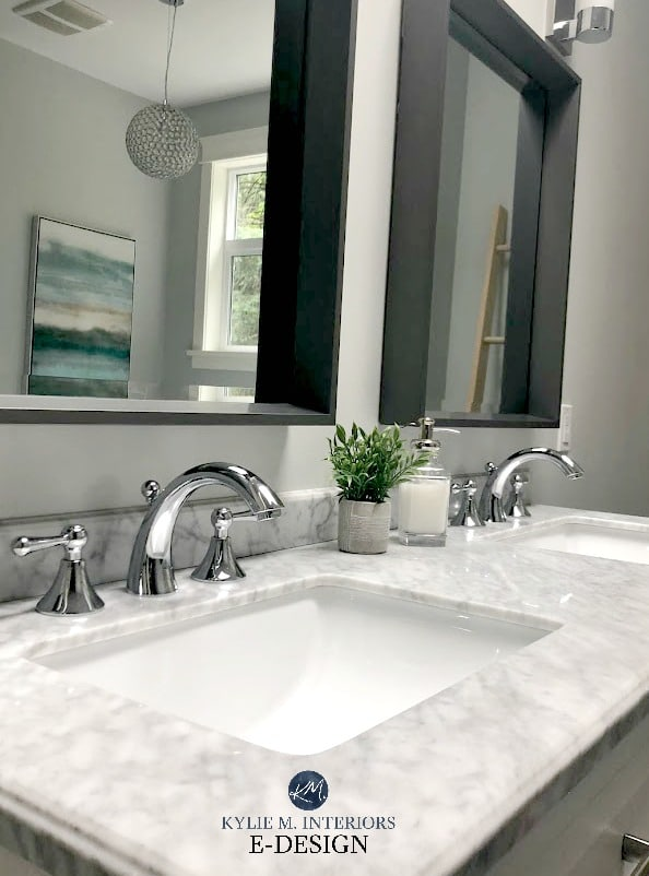 Bathroom With Wickham Gray Paint Colour Marble Countertop Kylie M Interiors Edesign Online
