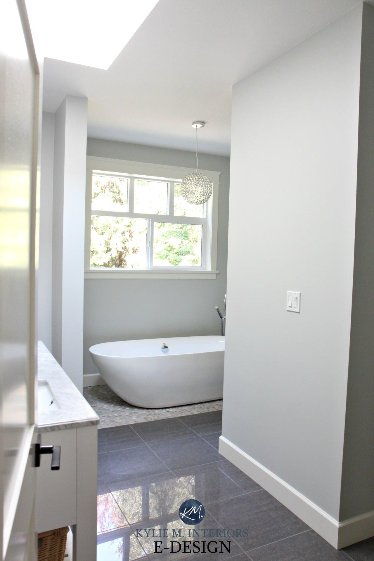 Ensuite Master Bathroom BEnjamin Moore Wickham Gray