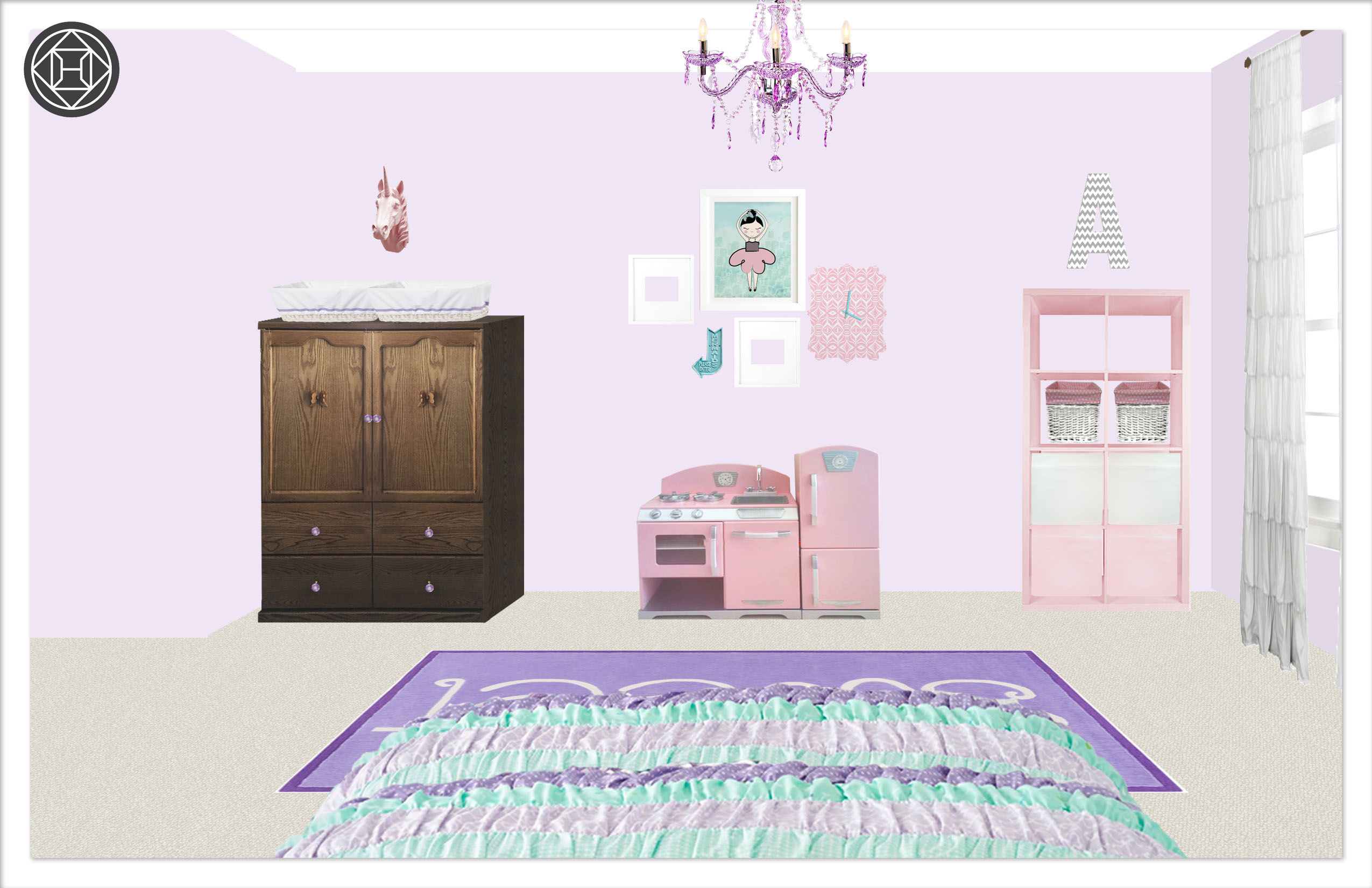 Girls Bedroom 2, Layout 1 alternative paint color 2 Kylie T interiors