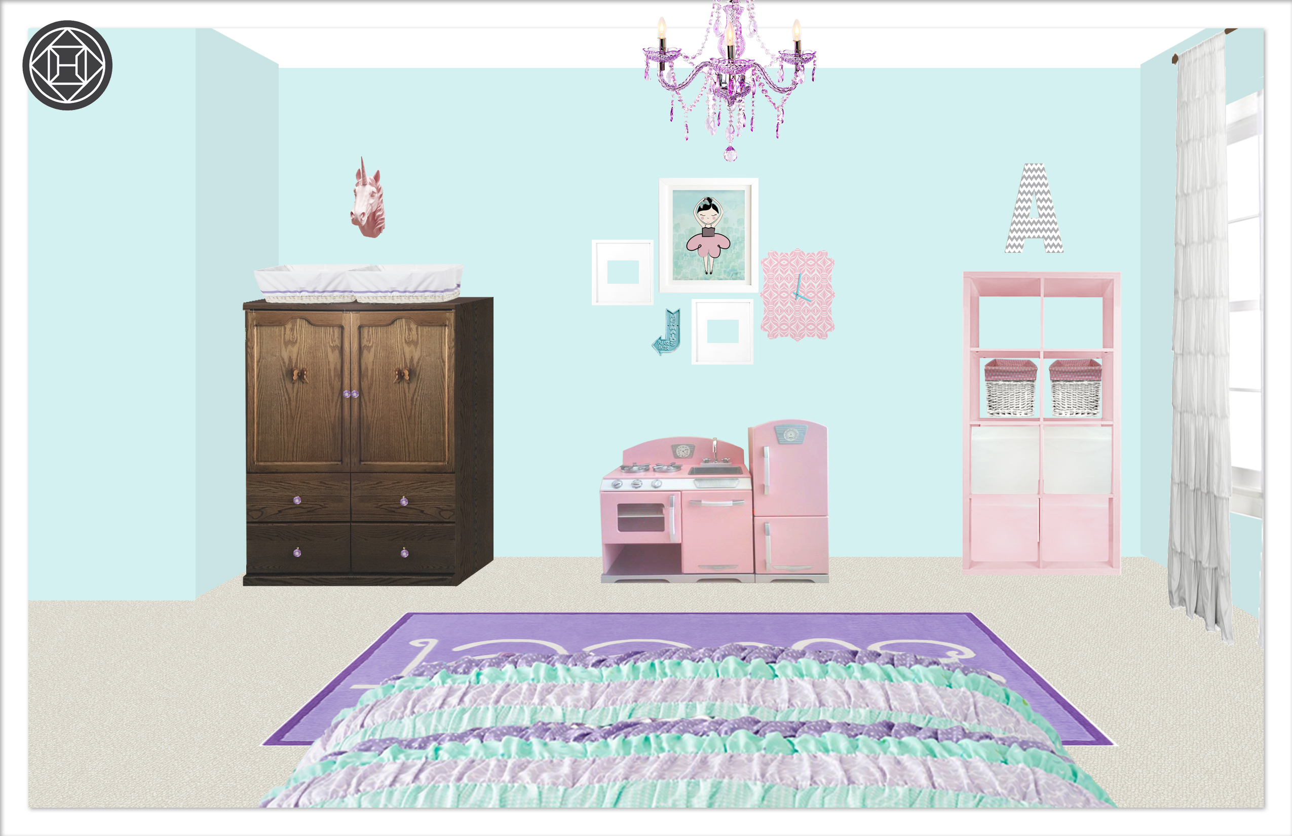Girls Bedroom 2, Layout 1 Kylie t interiors