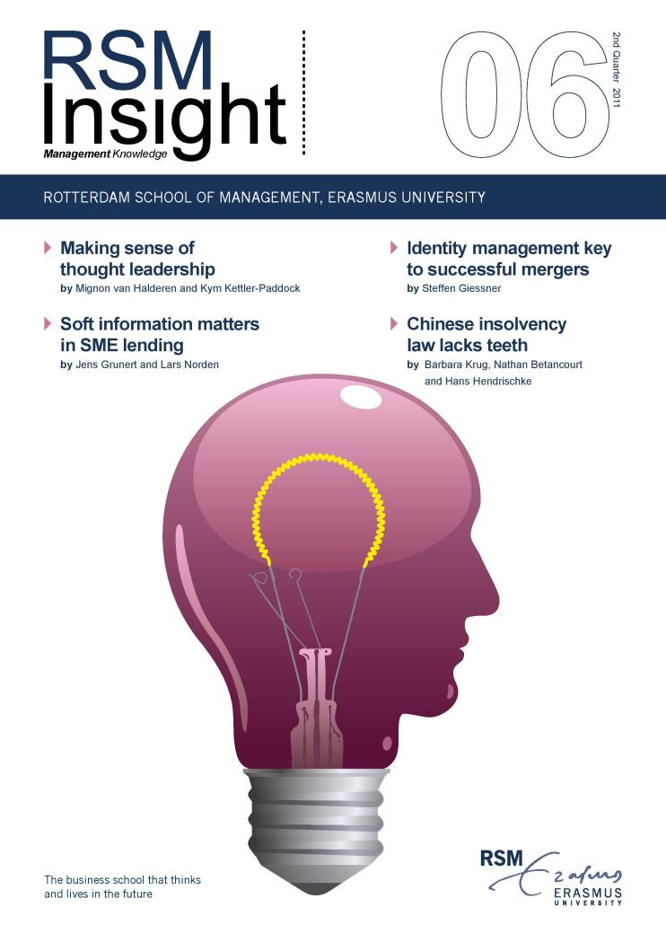 The front page of RSM Insight, a journal on research conducted at the Rotterdam School of Business.