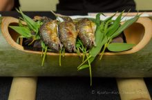 Grilled ayu (年魚), served in a bamboo tray, part of our Hana-no-zen (花の膳) lunch set, at Kifune Hyōe (奥貴船 兵衛), a kawadoko restaurant in Kibune, Kyoto City.