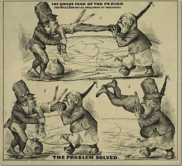 anti-Irish Chinese immigration cartoon