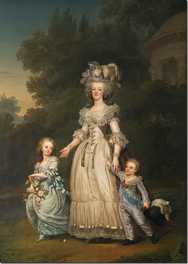 Marie Therese with Queen_Marie_Antoinette and younger brother Louis
