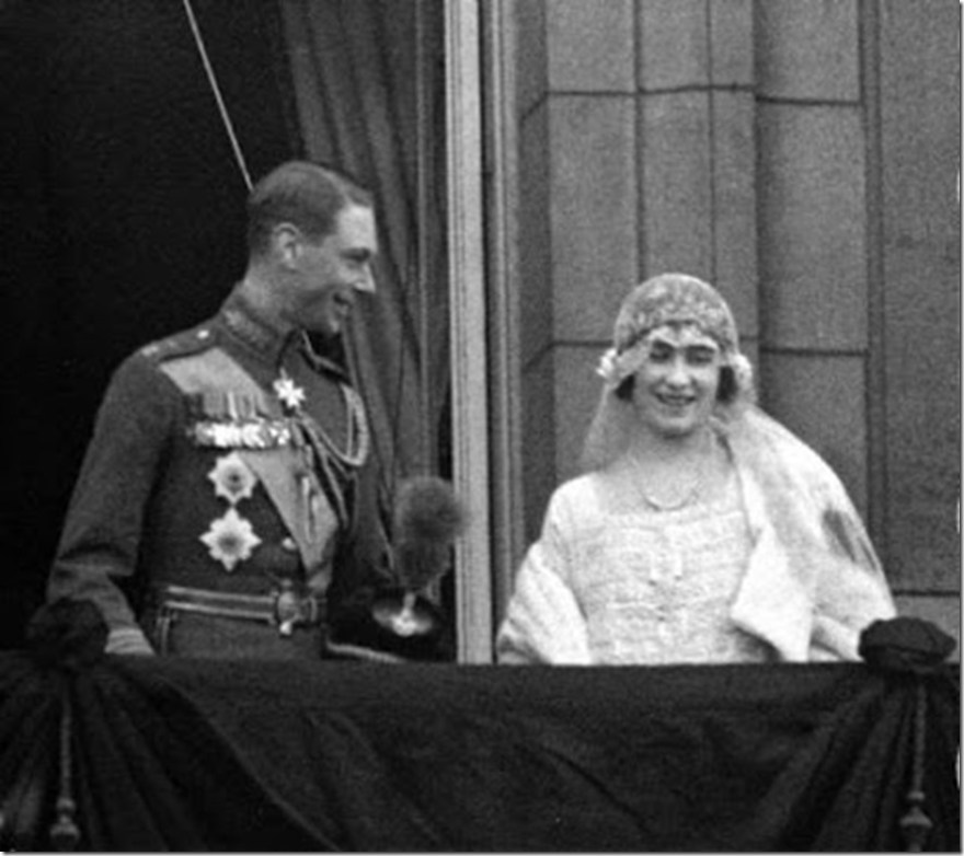 Duke of York and Elizabeth Bowes-Lyons on wedding day balcony