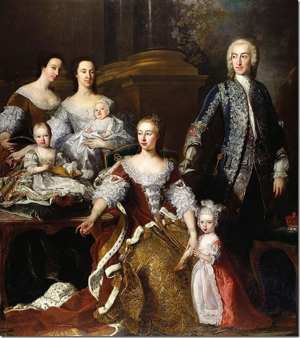 Frederick Prince of Wales and Augusta Of Saxe-Gotha with three eldest children