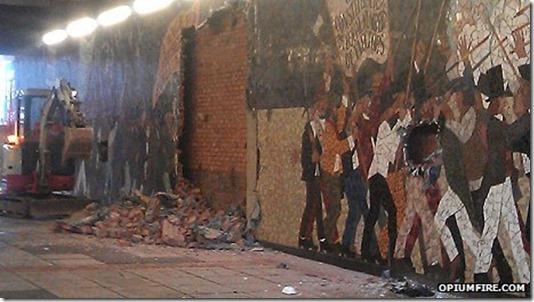 Newport Rising mural destroyed
