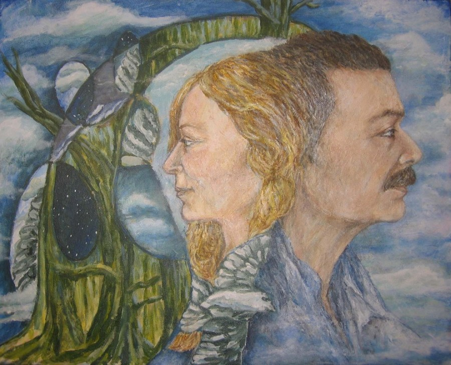 TOM AND EMMA, 2008. Emma was painted live, and Tom was recreated from photographs and medium channeling (Sold)