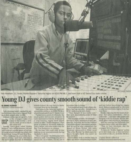 "Santa Cruz Sentinel - ""Young DJ gives county smooth sound of 'kiddie rap'"""