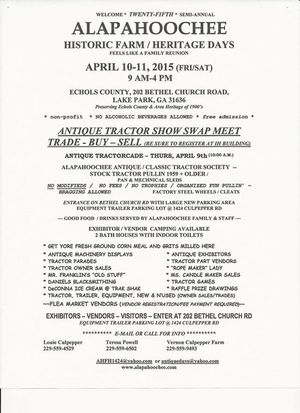 300x413 Flyer, in Alapahoochee Historic Farm Heritage Days, by John S. Quarterman, 10 April 2015