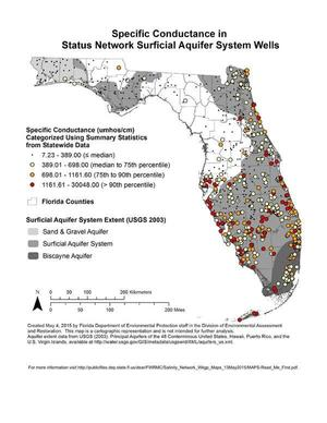 Specific Conductance in Status Network Surficial Aquifer System Wells