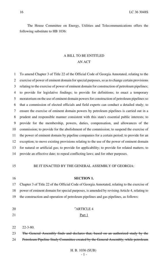 1275x2100 Moratorium on eminent domain for petroleum pipelines, in GA HB 1036, by GA House of Representatives, 29 February 2016